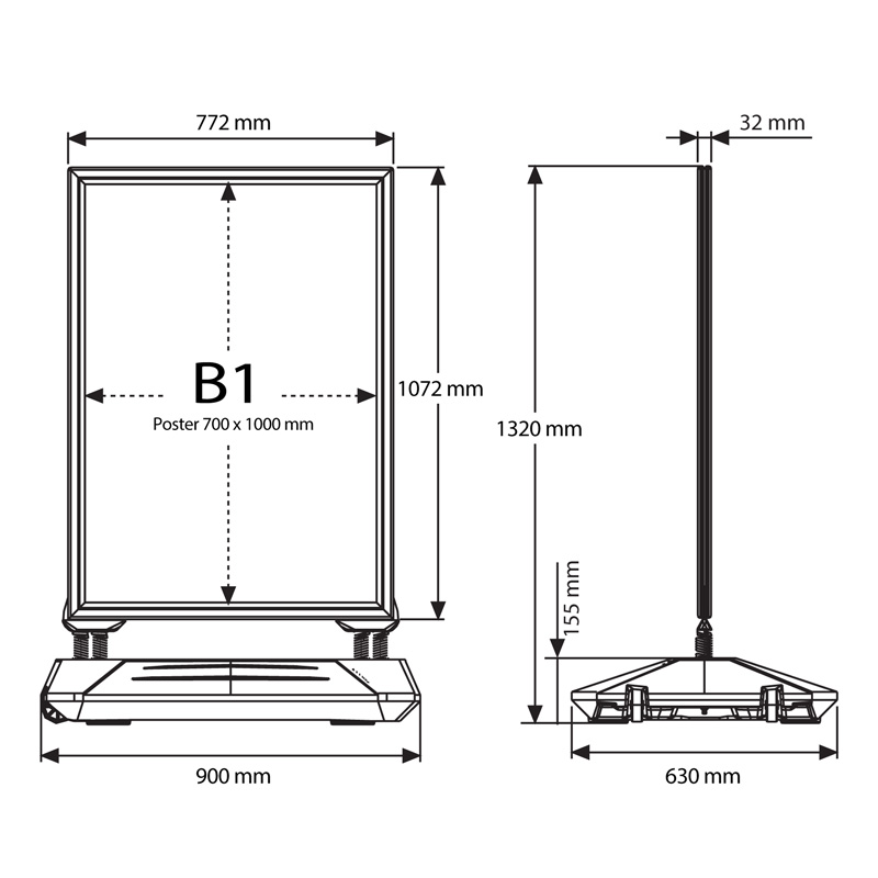 Stoepbord Swingbase B1
