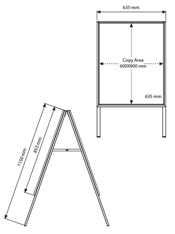 Stoepbord met whiteboard